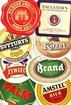 Beer coasters from around Europe.