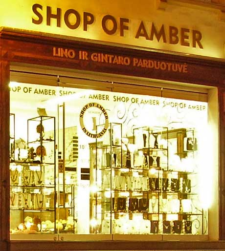 An amber shop in Vilnius, Lithuainia.
