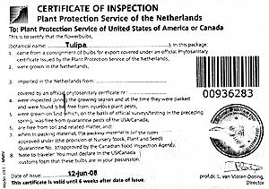 Tulip certificate of inspection.