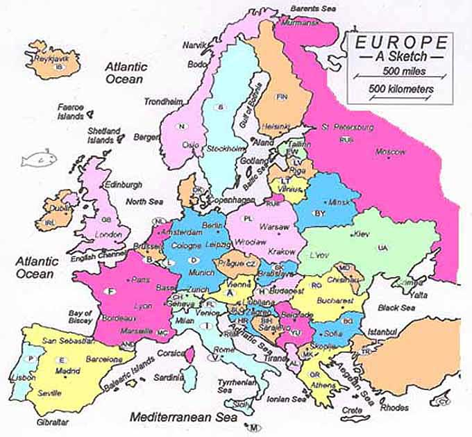 Europe Maps and Time Zones.