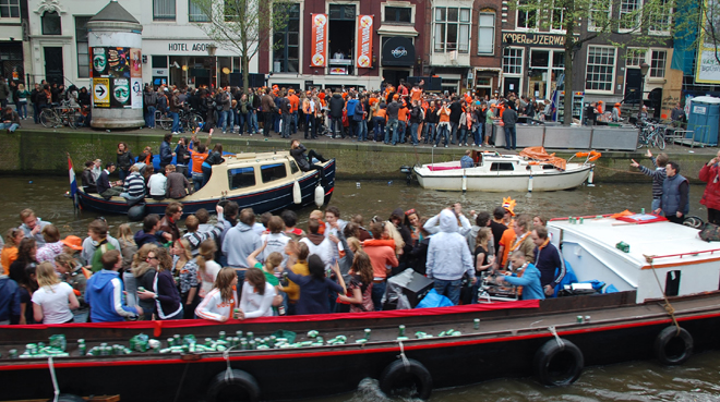 Canal Side, Queen's Day, Amsterdam