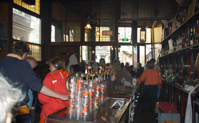 Hoppe Cafe From The Inside, Queen's Day, Amsterdam