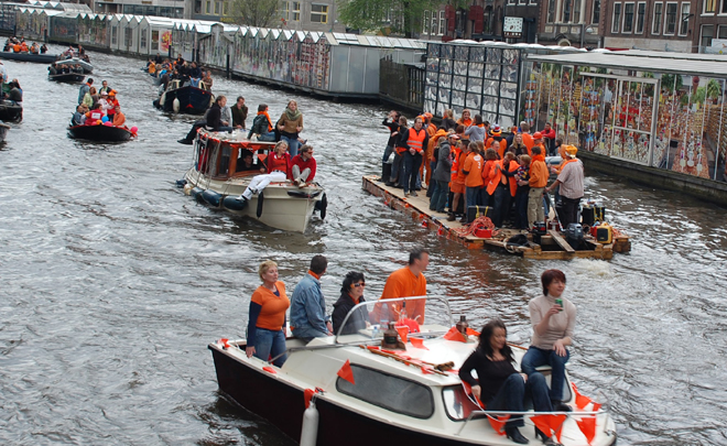 One Step Into The Canal, Queen's Day, Amsterdam