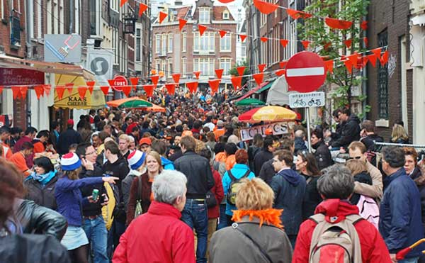 Crowded Street In Amsterdam