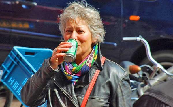 Paula Having Beer In Front Of Albert Heijn